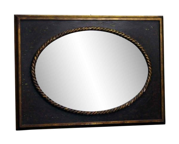 Oval Decorative Mirror with Rectangular Frame