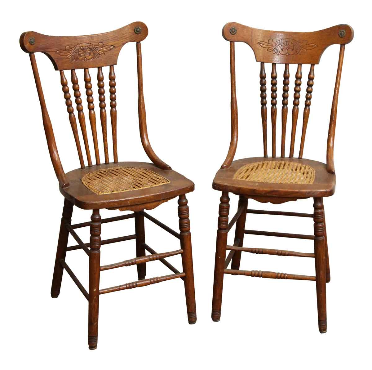 Antique Wooden Kitchen Chairs: Pair Of Carved Wood Chairs With Wicker Seat