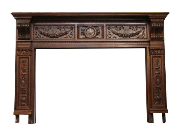 Heavily Carved Ornate Wood Mantel