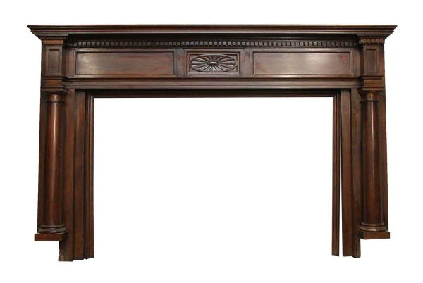 Dark Stained Federal Style Wood Mantel