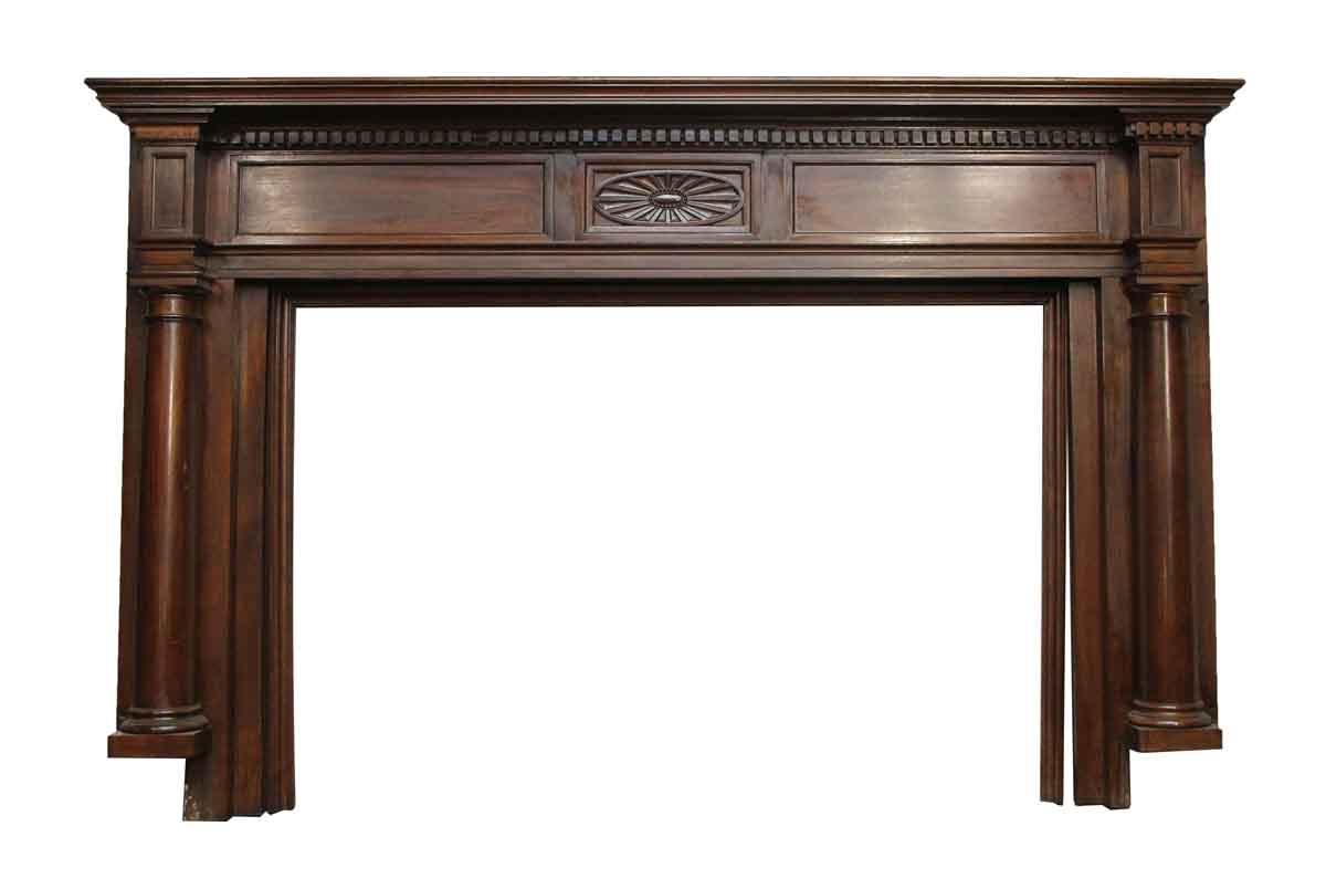 Dark stained federal style wood mantel olde good things for Dark fireplace mantel