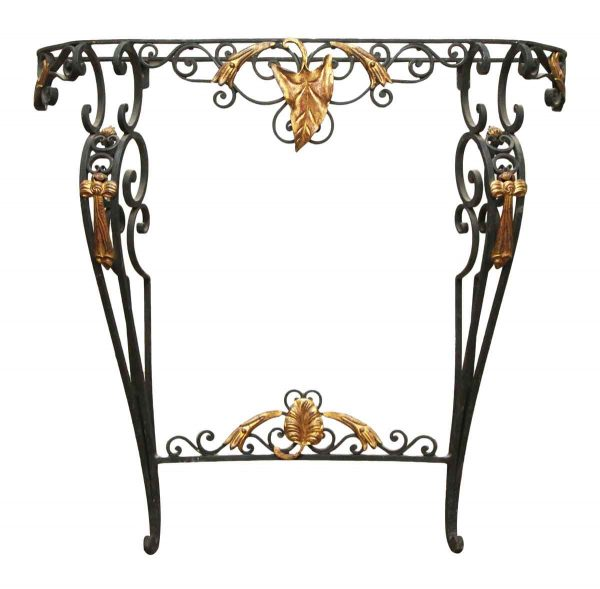 Wrought Iron Console Table with Gilded Detail