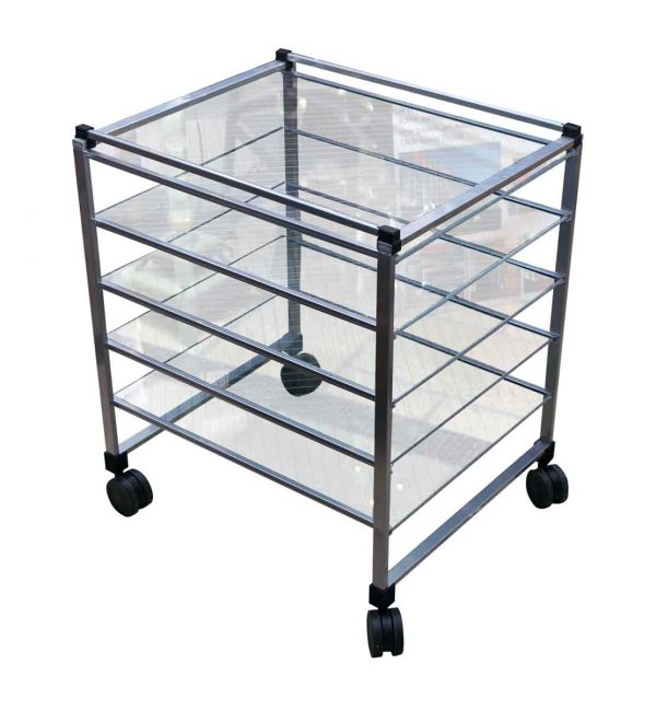 Five Tiered Cart with Chicken Wire Glass Shelves