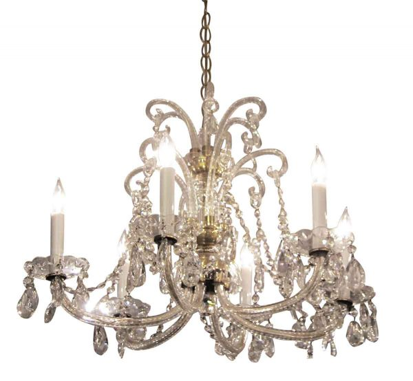 Five Arm Crystal and Brass Chandelier
