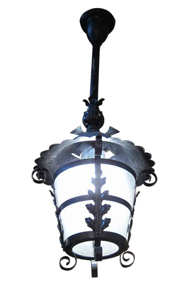 Black Leafy Iron Lantern