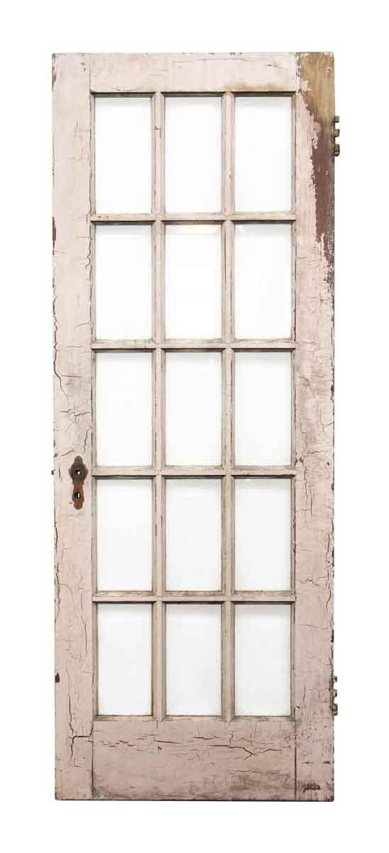 Beveled 15 Glass Panel Wooden Door