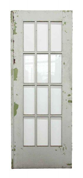 12 Beveled Glass Panel White Wooden Door