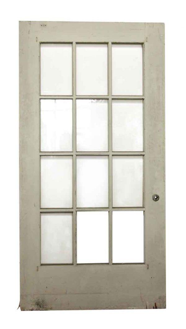 12 Glass Panel Wide White Door
