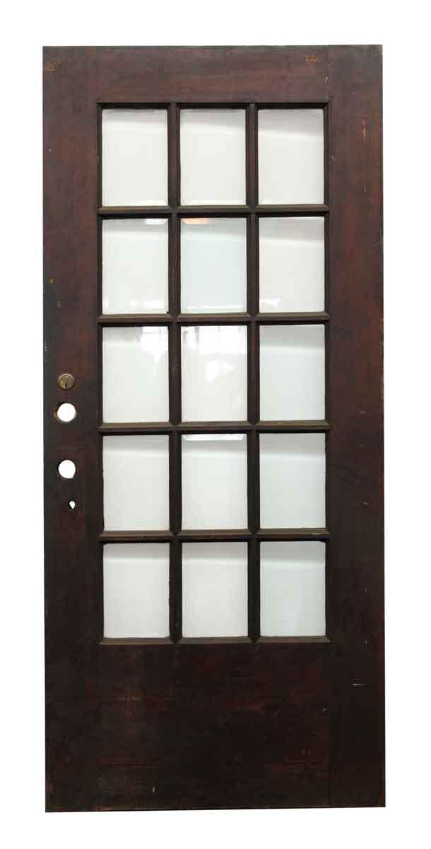 15 beveled glass panel dark wood door olde good things for 15 panel glass french door