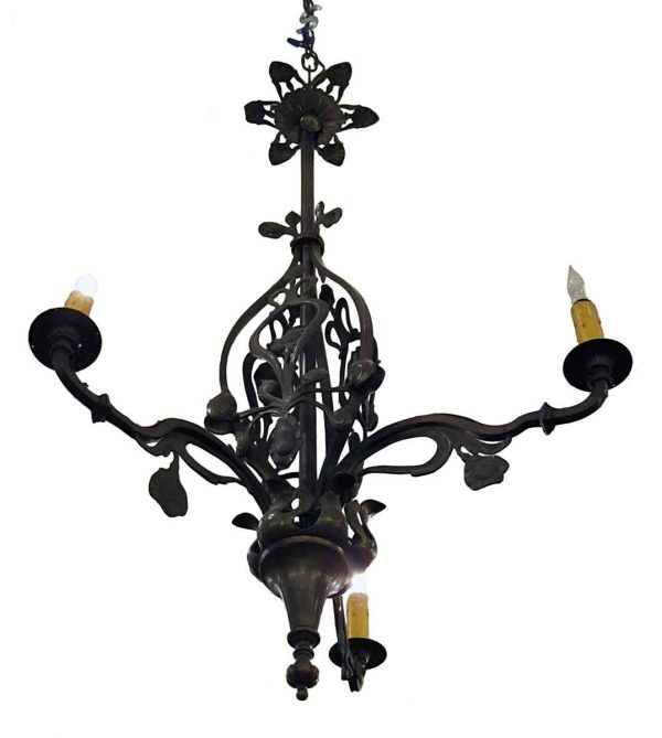 Triple Arm Cast Brass French Style Chandelier