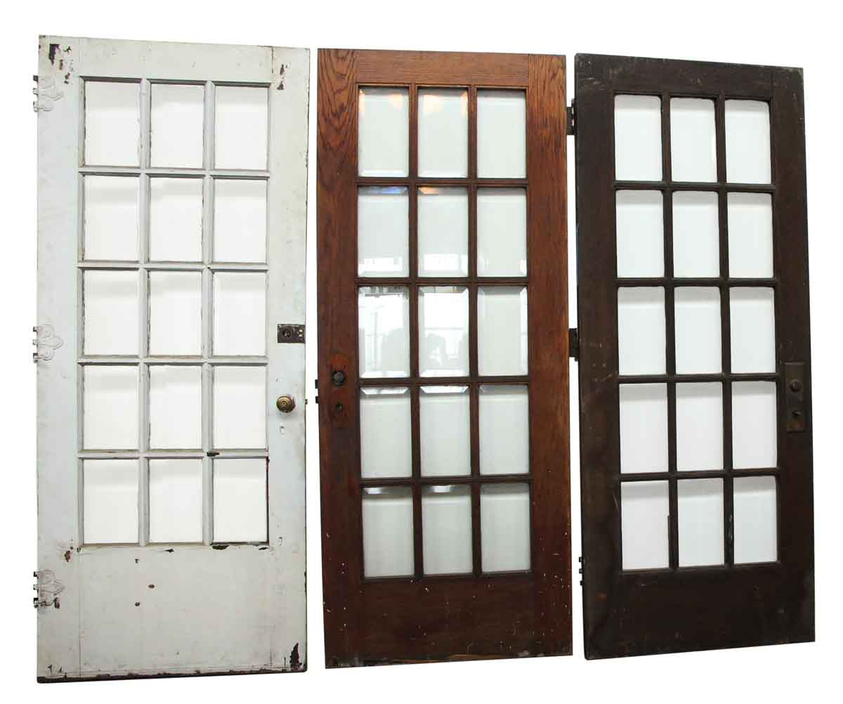 15 beveled glass panel french door olde good things for Glass french doors