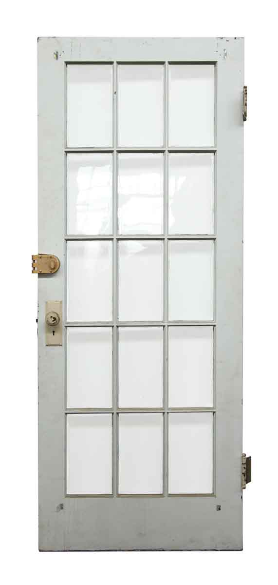 White wood door with 15 glass panels olde good things for White wooden french doors