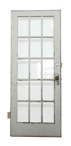 White Wood Door with 15 Glass Panels