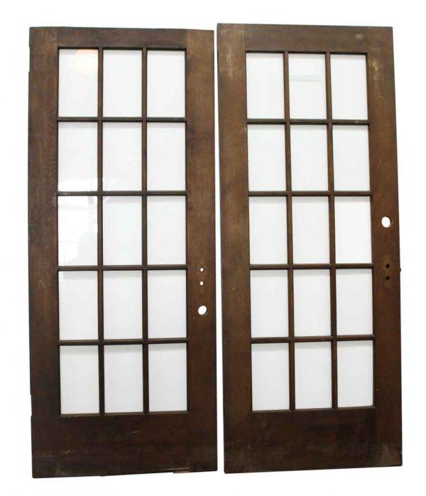 Dark Wooden Doors with 15 Glass Panels