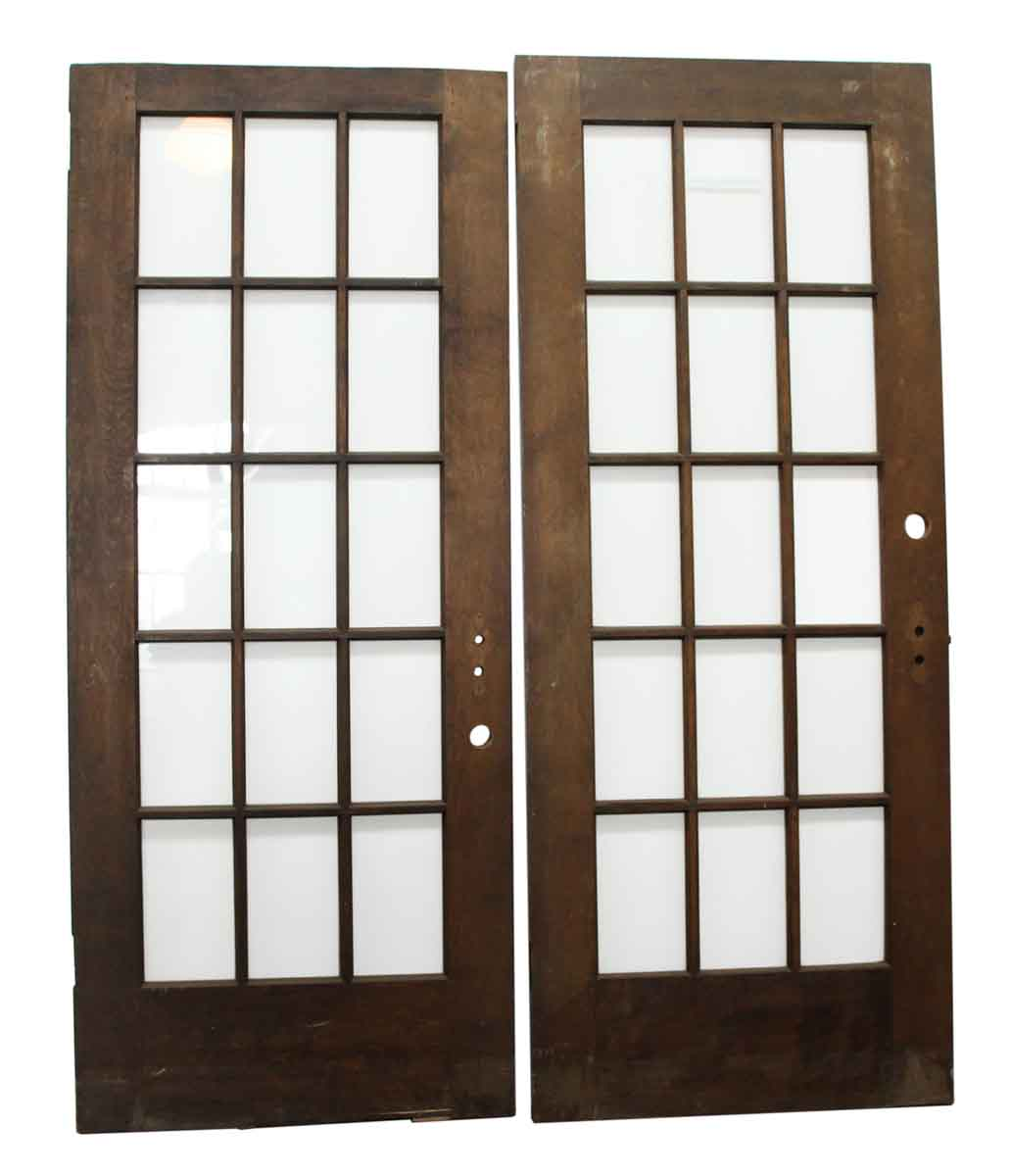 Dark Wooden Doors With 15 Glass Panels Olde Good Things