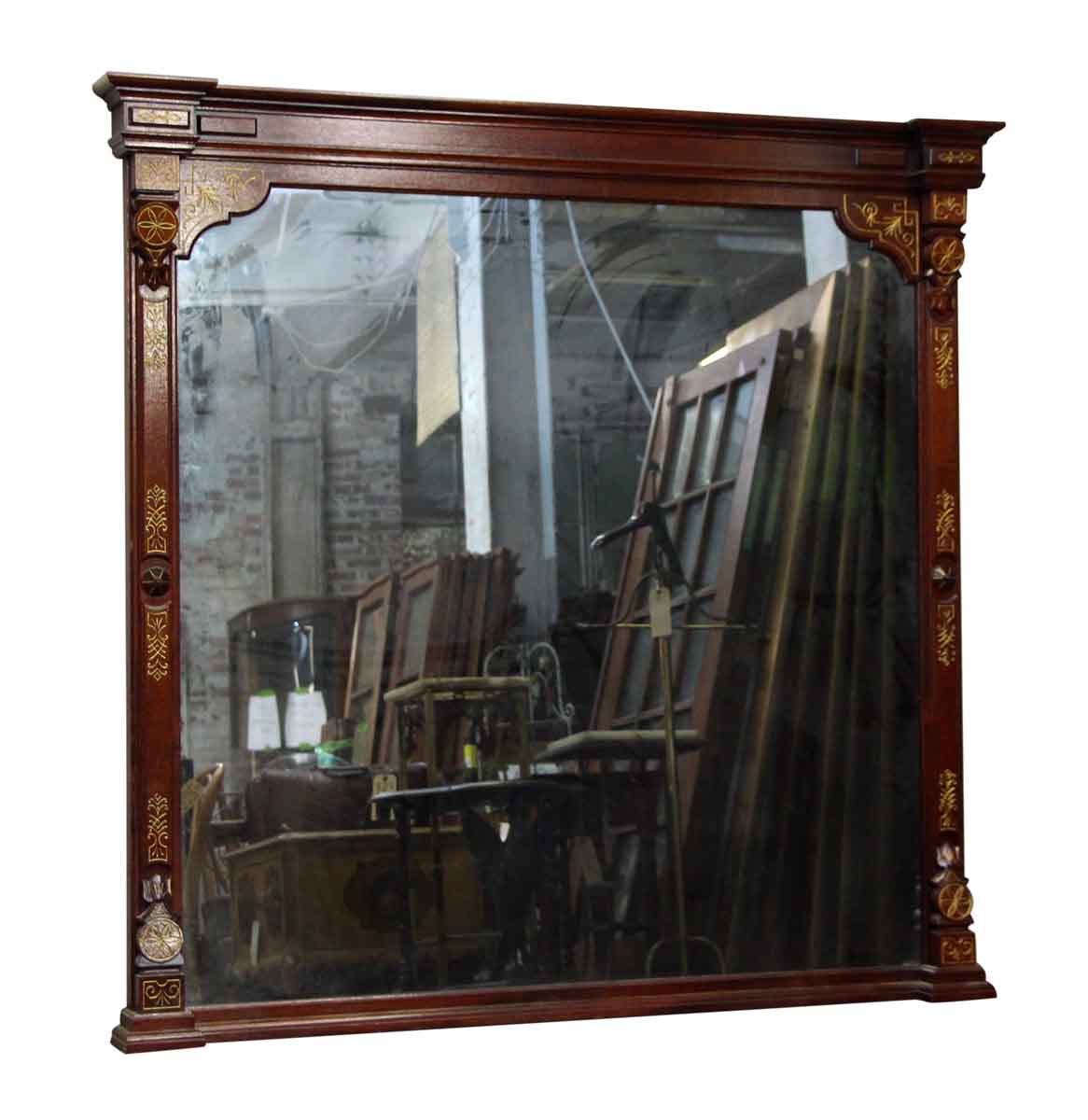 Large Wood Frame Mirror with Ornate Carvings | Olde Good ...
