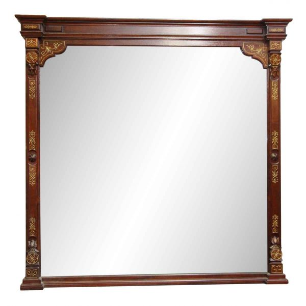 Large Wood Frame Mirror with Ornate Carvings