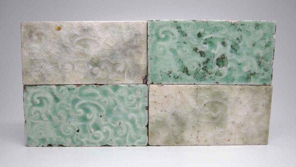 Set of Four Mint & Light Green Swirly Tiles