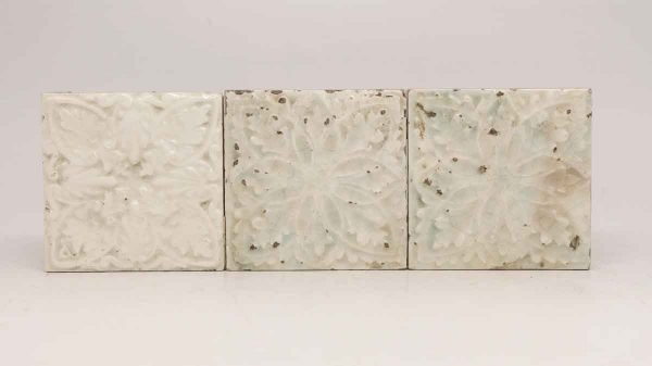 Set of Three Square Floral White Tiles