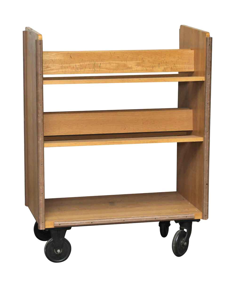 Book Furniture: Wheeled Solid Maple Book Shelf Library Cart
