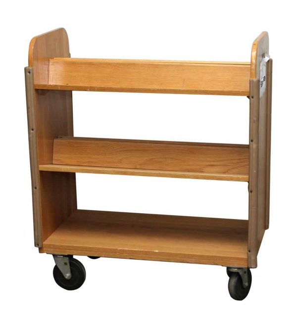 Wheeled Wooden Library Cart