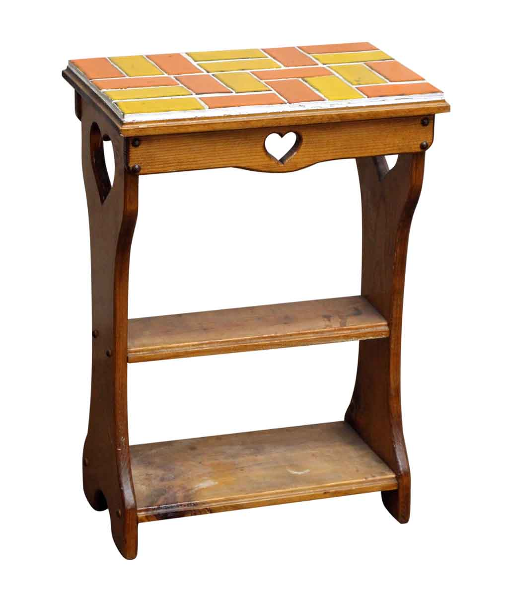 Beau End Table With Heart Cut Outs And Colorful Tile Top