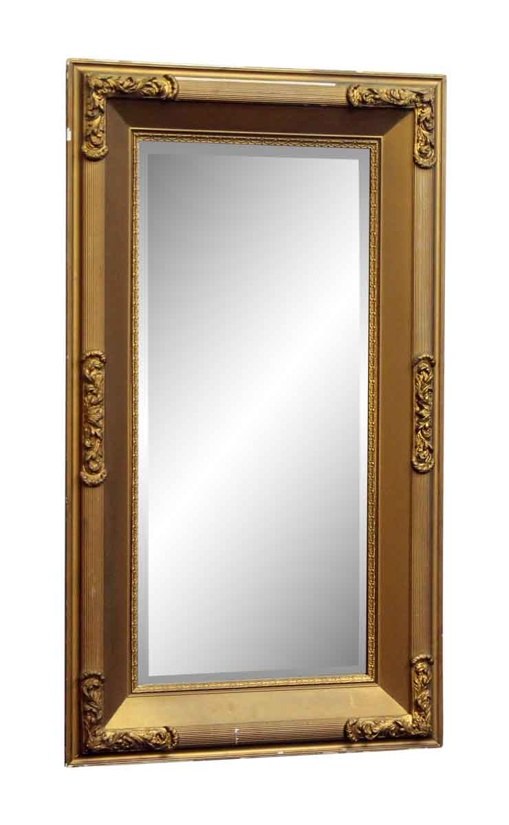 Gold painted wood mirror with beveled glass olde good things for Beveled glass mirror