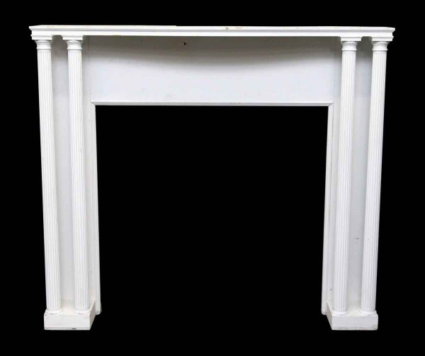Painted White Wood Mantel with Four Columns