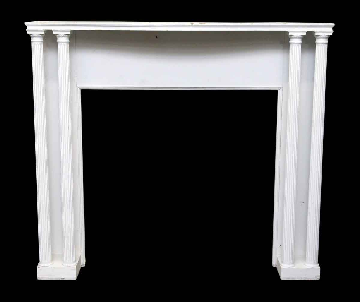 Painted White Wood Mantel With Four Columns Olde Good Things