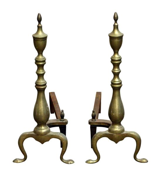 Plain Brass Andirons