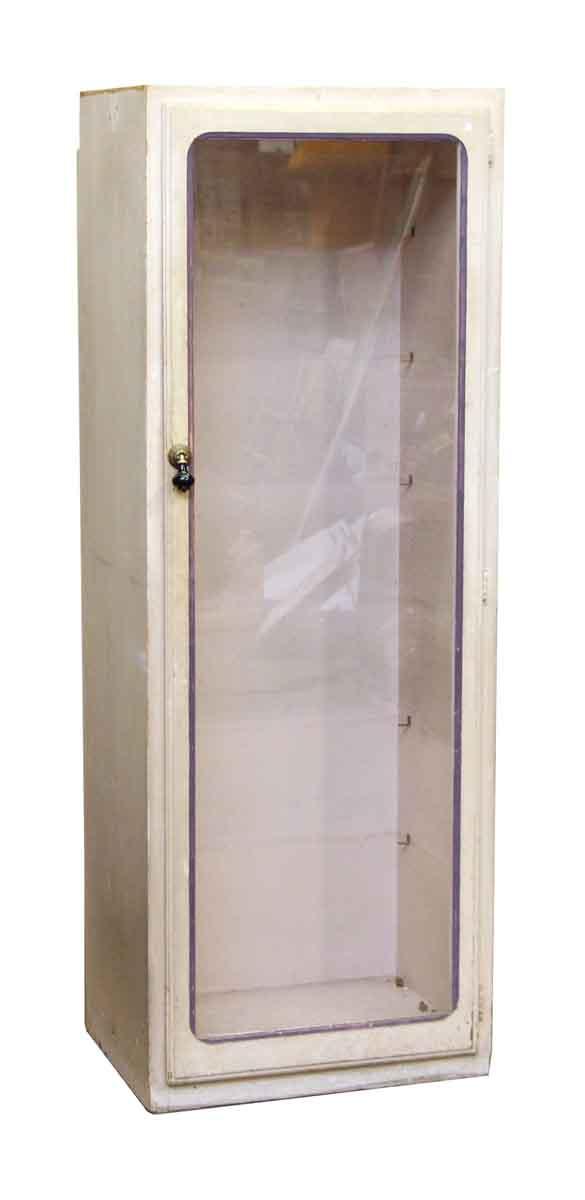 Vintage Wooden Display Case with Old Wavy Glass Door