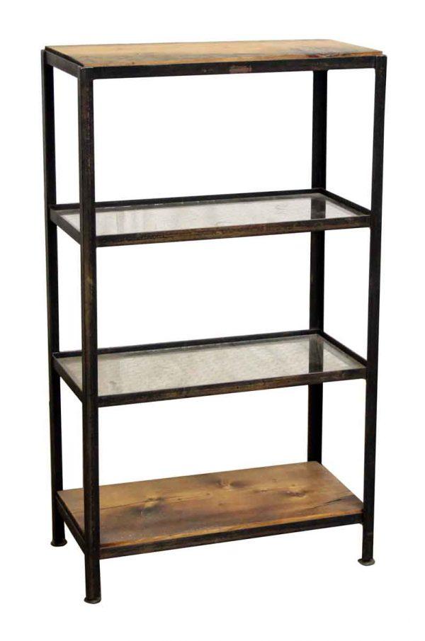 Wood & Chicken Wire Glass Four Shelf Unit