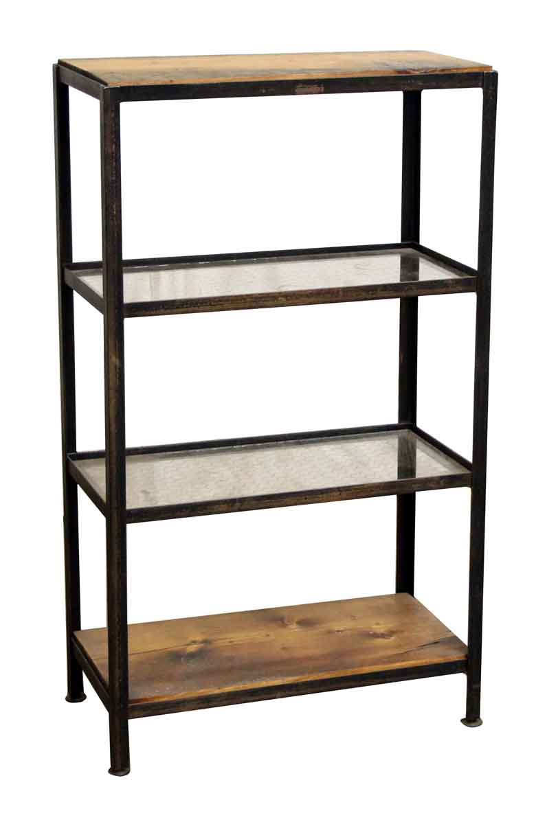 Wood & Chicken Wire Glass Four Shelf Unit   Olde Good Things