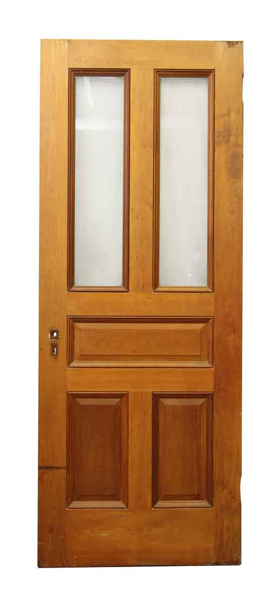 Wood Door with Five Panels & Frosted Detailed Glass