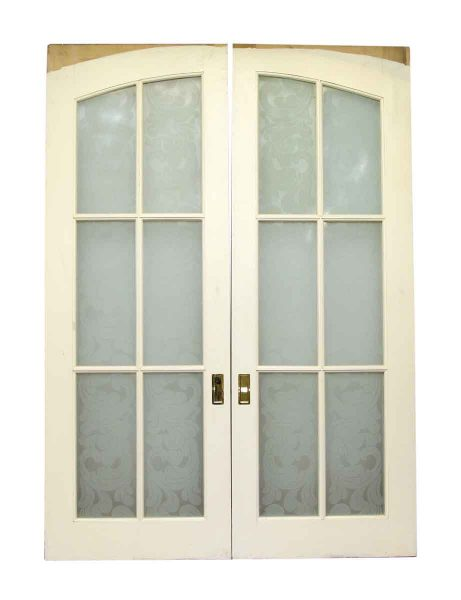 Pair Of Pocket Wood Doors With Six Frosted Glass Panels