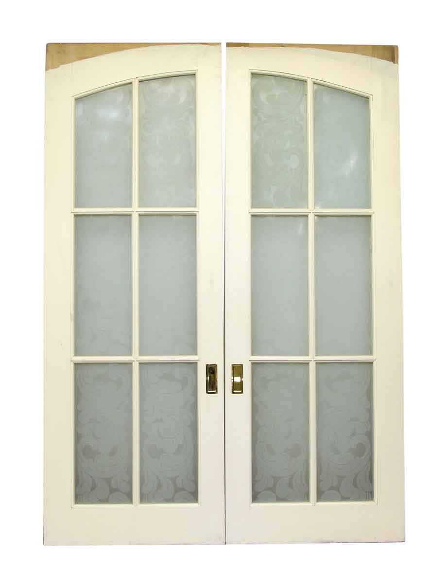 Pair of pocket wood doors with six frosted glass panels for French doors with glass panels