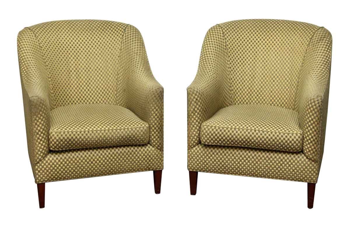 Pair of green checkered chairs olde good things for Pair of chairs for living room