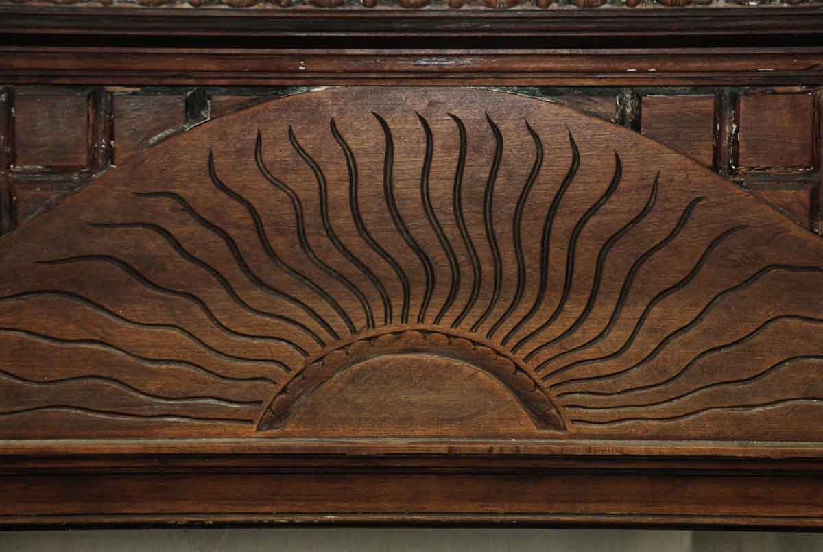 Carved Wood Mantel With Sunrise Design Olde Good Things