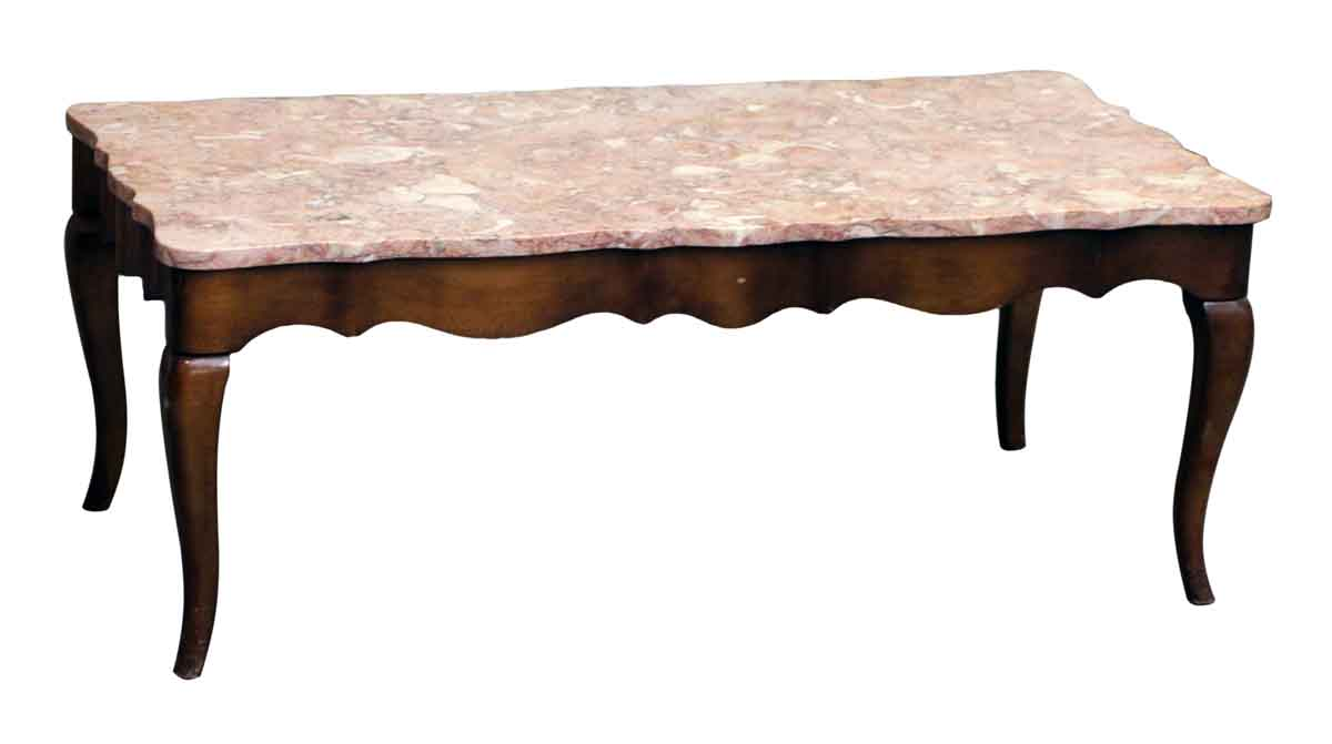 French Provincial Coffee Table With Rose Marble Top Olde Good Things