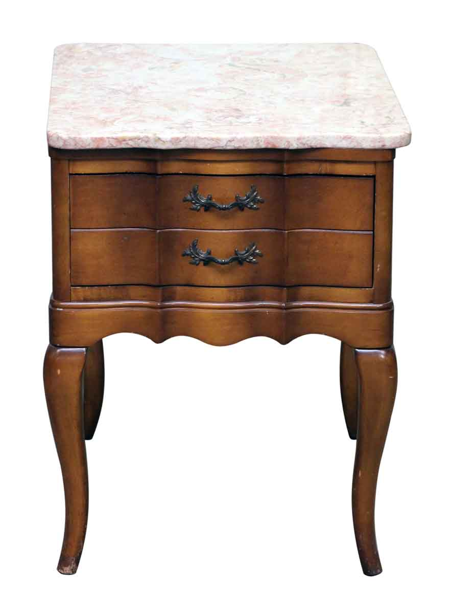 french provincial night stand with rose marble top