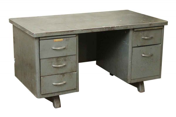 Steel Tanker Desk with Five Drawers