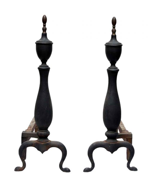 Pair of Black Steeple Top Andirons