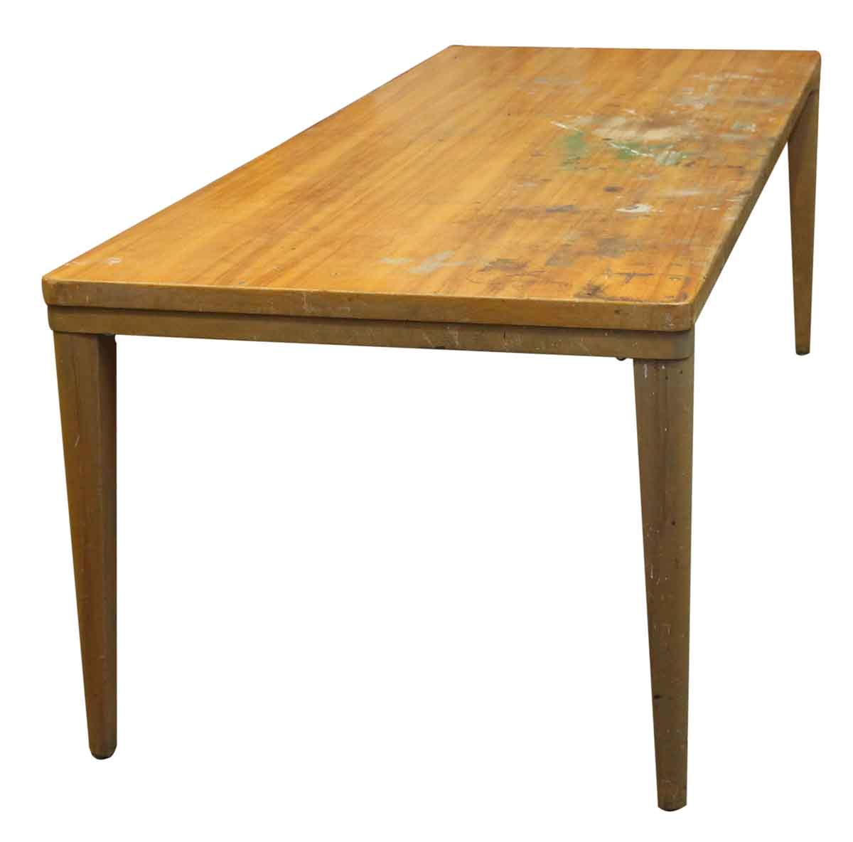 long wooden remington rand table olde good things. Black Bedroom Furniture Sets. Home Design Ideas