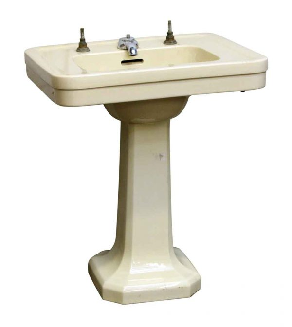 Pale Yellow Pedestal Sink