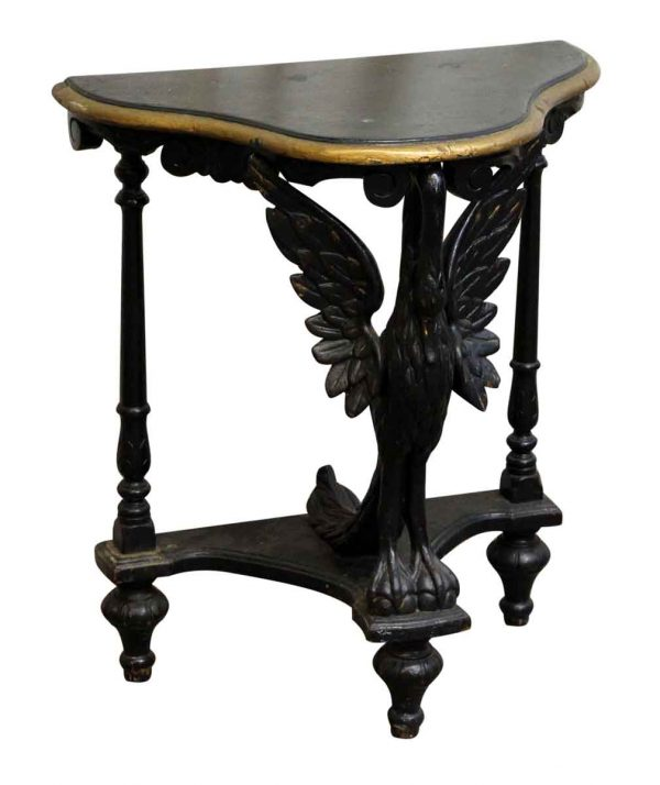 Carved Wooden Black Swan Table