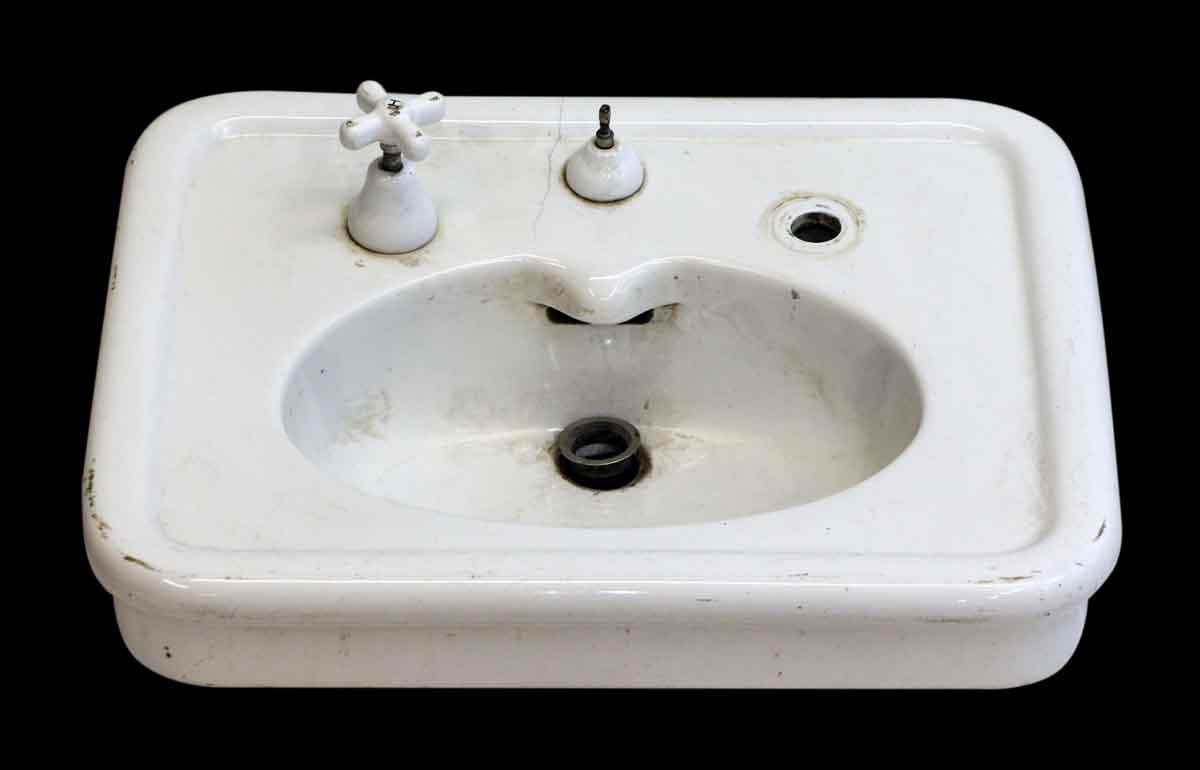 Crane white porcelain sink olde good things - White porcelain bathroom fixtures ...