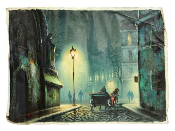 1900s Evening Street View Oil Painting