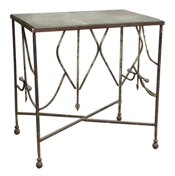Rustic Iron Table with Slate Top