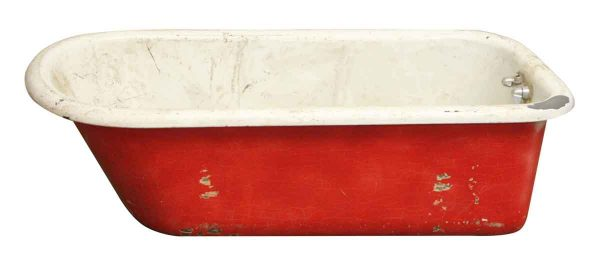 Red & White Caw Foot Tub