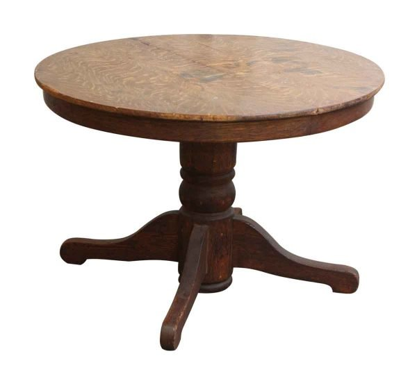 Round Oak Top Wood Table with Wheels